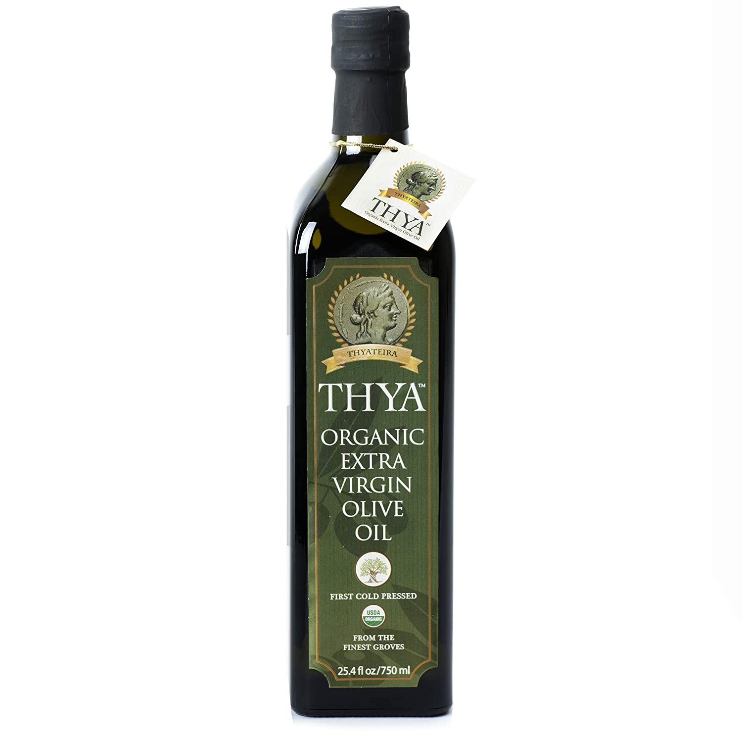 USDA Organic Extra Virgin Olive Oil by THYA, First Cold Pressed, Single Source, Unblended, Natural, NON-GMO EVOO for Salad, Cooking, Baking, Dipping, (25.4 fl oz/ 750ml)