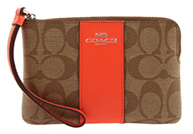 a5311a7fccf64 Image Unavailable. Image not available for. Color  COACH Corner Zip Wristlet  In Signature Coated Canvas With Leather ...