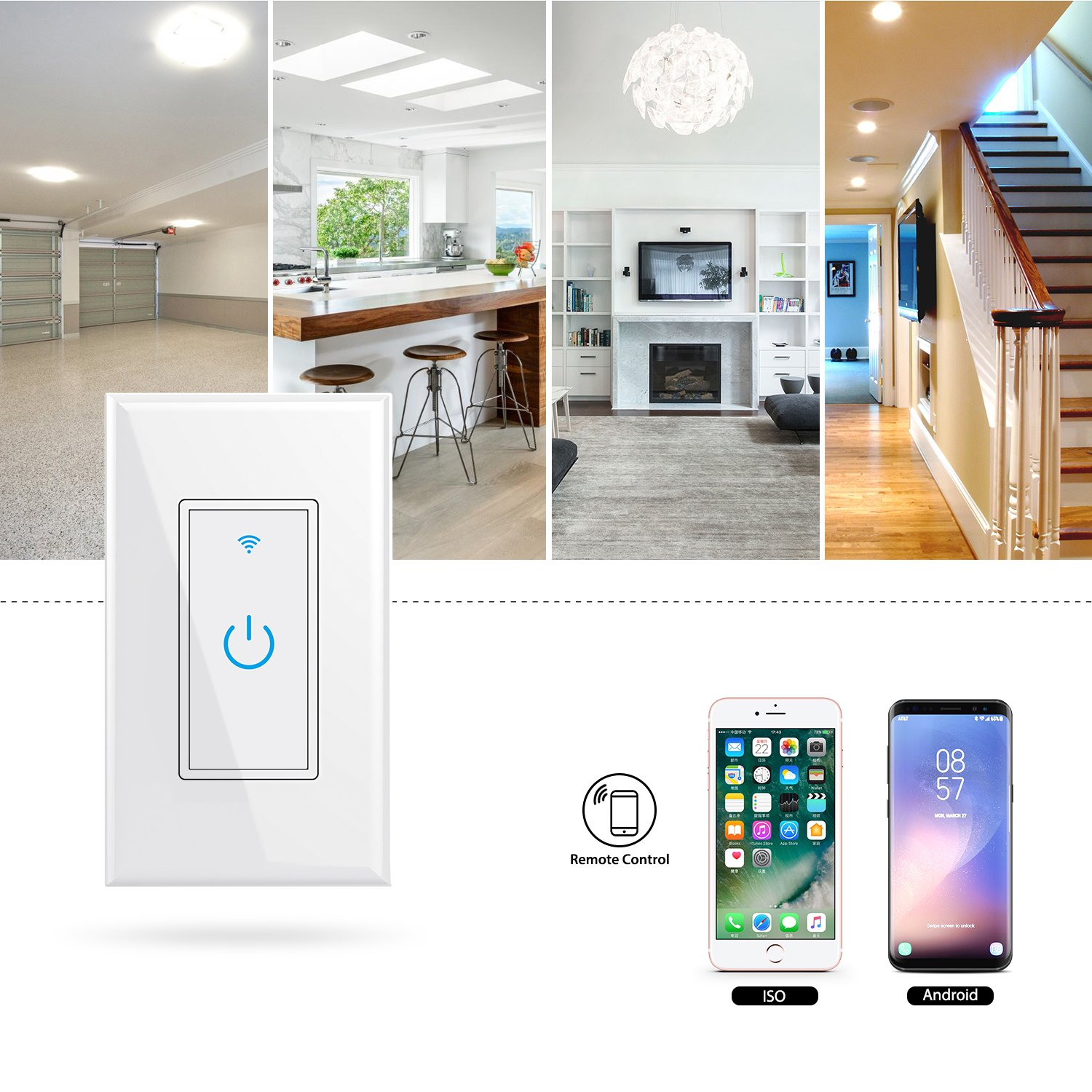 WiFi Smart Light Switch In-Wall,Phone Remote Control Wireless Switch No Hub Required,Timing Function, Automatic Control Your Fixtures From Anywhere,Compatible with Amazon Alexa,Overload Protection 15A by NewRice (Image #4)