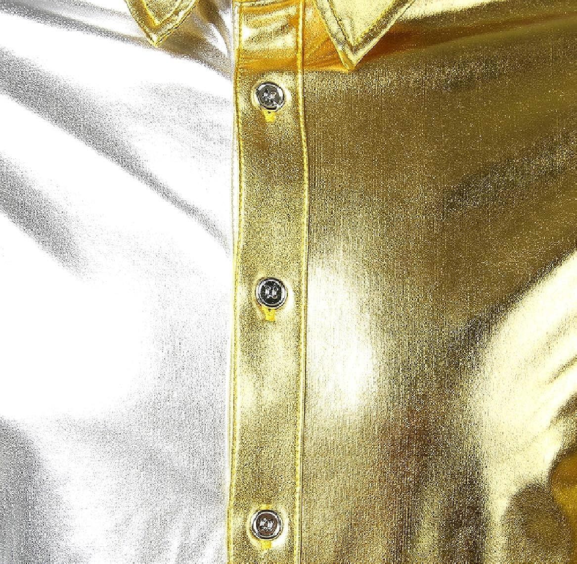 SayahMen Nightclub Oversize Gilded Bright Color Button Down Shirt