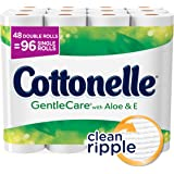 Cottonelle Gentle Care Toilet Paper, Sensitive Bath Tissue, Aloe & Vitamin E, 48 Double Toilet Paper Rolls