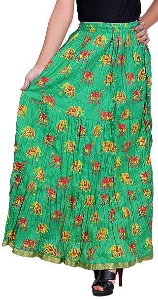 519f539e0 Vani Women's Cotton Ethnic Skirt (FrillElephantSeagreen1, Green):  Amazon.in: Clothing & Accessories