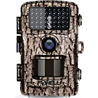 """Foxelli Trail Camera – 12MP 1080P Full HD Wildlife Scouting Hunting Camera with Motion Activated Night Vision, 120° Wide Angle Lens, 42 IR LEDs and 2.4"""" LCD Screen, IP66 Waterproof Game Camera"""