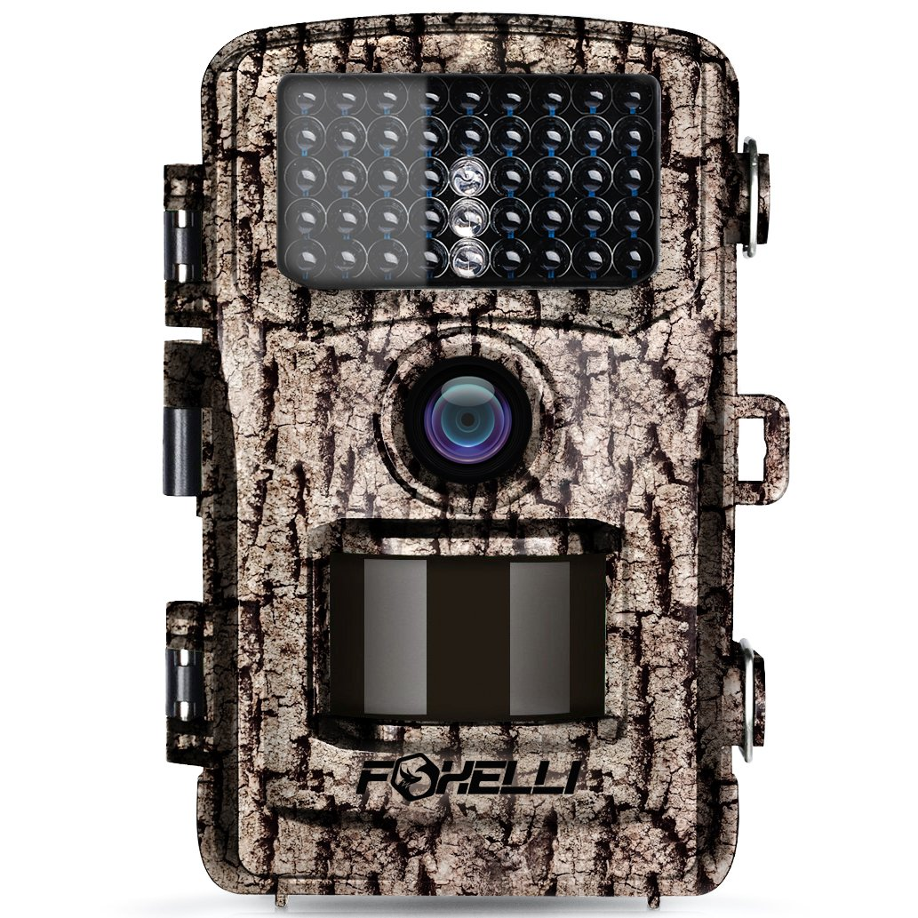 Foxelli Trail Camera ? 12MP 1080P Full HD Wildlife Scouting Hunting Camera with Motion Activated Night Vision, 120° Wide Angle Lens, 42 No Glow IR LEDs and 2.4? LCD screen, IP66 Waterproof Game Camera 120° Wide Angle Lens 57047