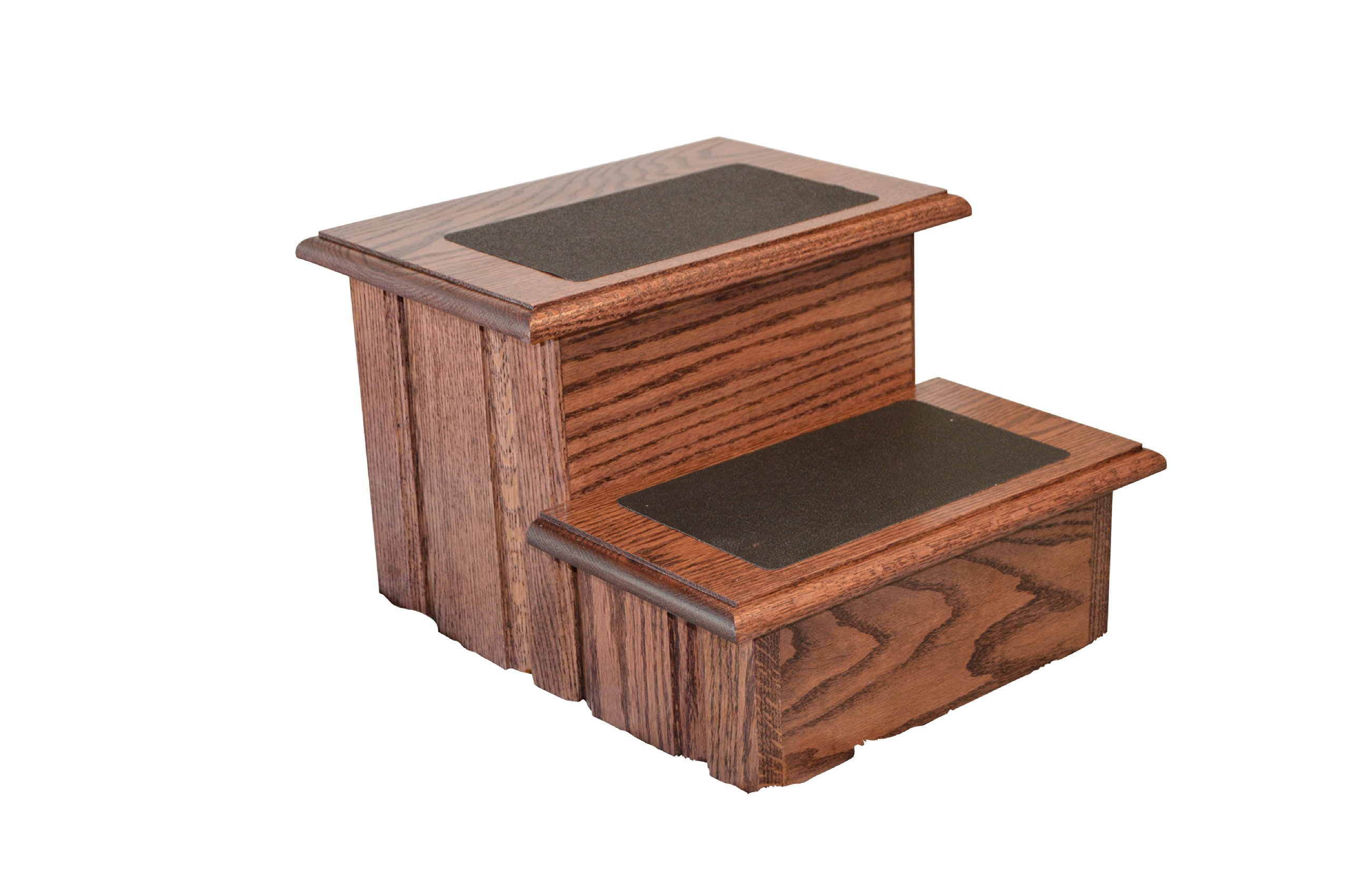 Rich Cherry Finished Solid Oak Step Stool With Non Slip Tread 11 ½'' Tall