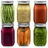 Glass Regular Mouth Mason Jars, 16 Ounce Glass Jars with Silver Metal Airtight Lids for Meal Prep, Food Storage, Canning, Dri