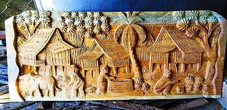 Amazon Com Handmade Wood Art Carving Sculpture Wall Decor Carved Village Scene Teak Panel Thai Wood Carved Thai Carved Wall Panel 37 X 58 Centimeters 37 X 58 Centimeters Home Kitchen