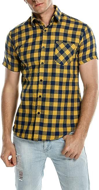 COOFANDY Camisa Hombre a Cuadros Manga Corta Casual: Amazon.es: Ropa y accesorios