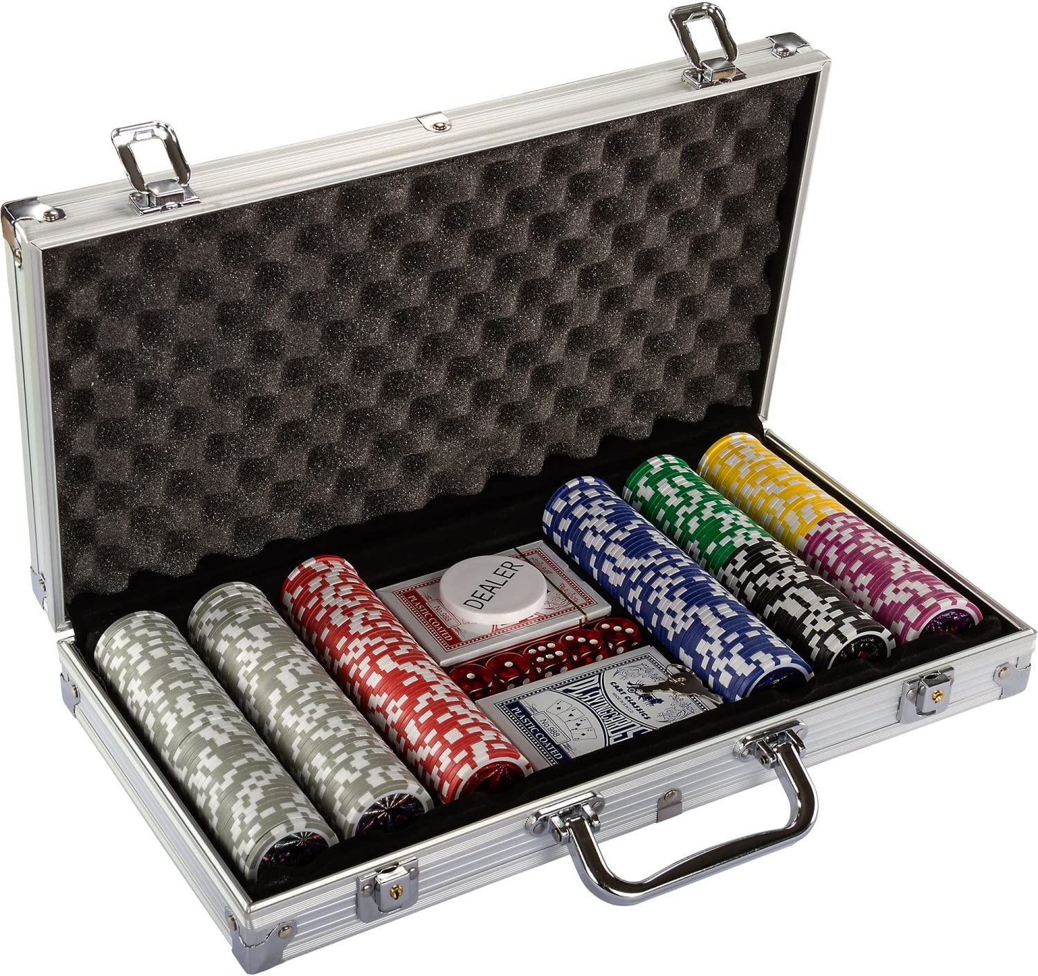Poker Set With 500 1000 Laser Chip Casino Play Game Dice Lockable Aluminium Case Games Poker Card Games