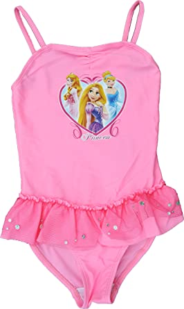 28c2813a5 Disney Girls Princess Pink Frill Swimsuit Sizes 3 To 6 Years (4 Years):  Amazon.co.uk: Clothing