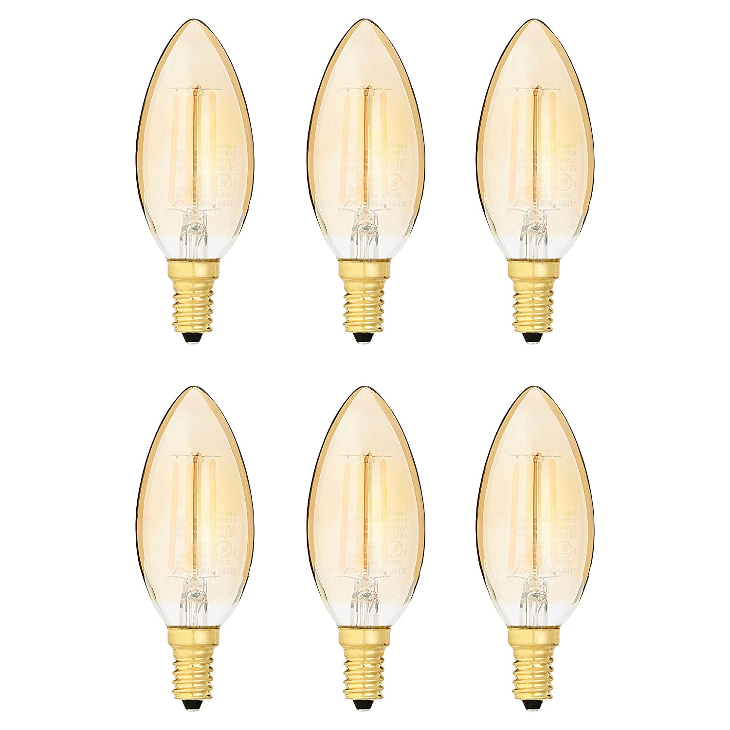 AmazonBasics 40 Watt Equivalent, Clear, Amber, Dimmable, B11 (E12 Candelabra Base) LED Light Bulb | 6-Pack