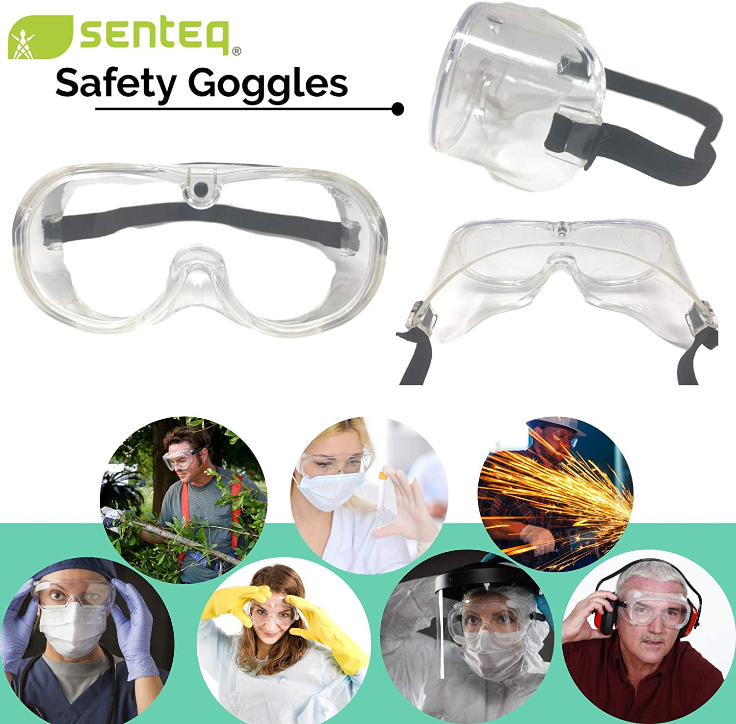 2 Pairs Clear Lens Anti-Splash Safety Goggles Lab Glasses Medical Face Protection Dust Proof Wearable Eyeglasses