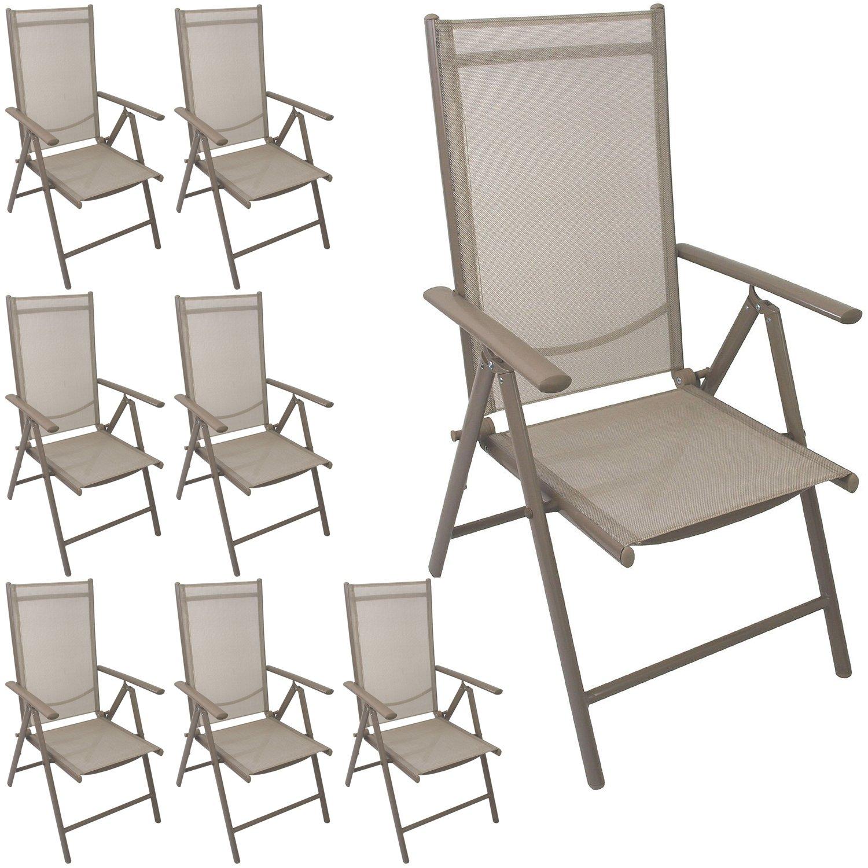 Multistore 2002 8 Stück Aluminium Hochlehner Positionsstuhl klappbar Liegestuhl mit robuster Textilenbespannung Lehne 7-Positionen verstellbar Gartenstuhl