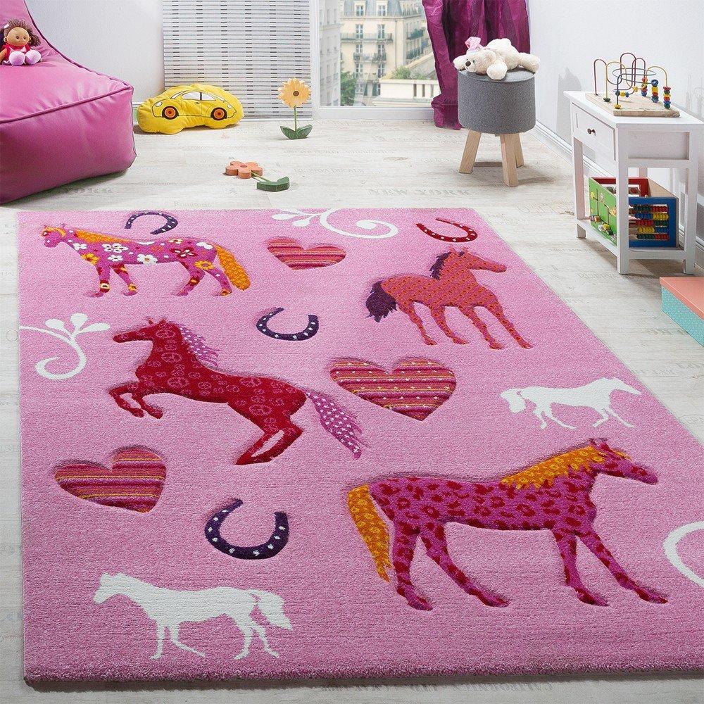 Paco Home Kinderzimmer Teppich Kinderteppich Pferde Huf Herz Motive Konturenschnitt Pink, Grösse 140x200 cm