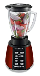 Oster Reverse Crush Counterforms Blender, with 6-Cup Glass Jar, 7-Speed Settings and Brushed Stainless Steel/Red Finish