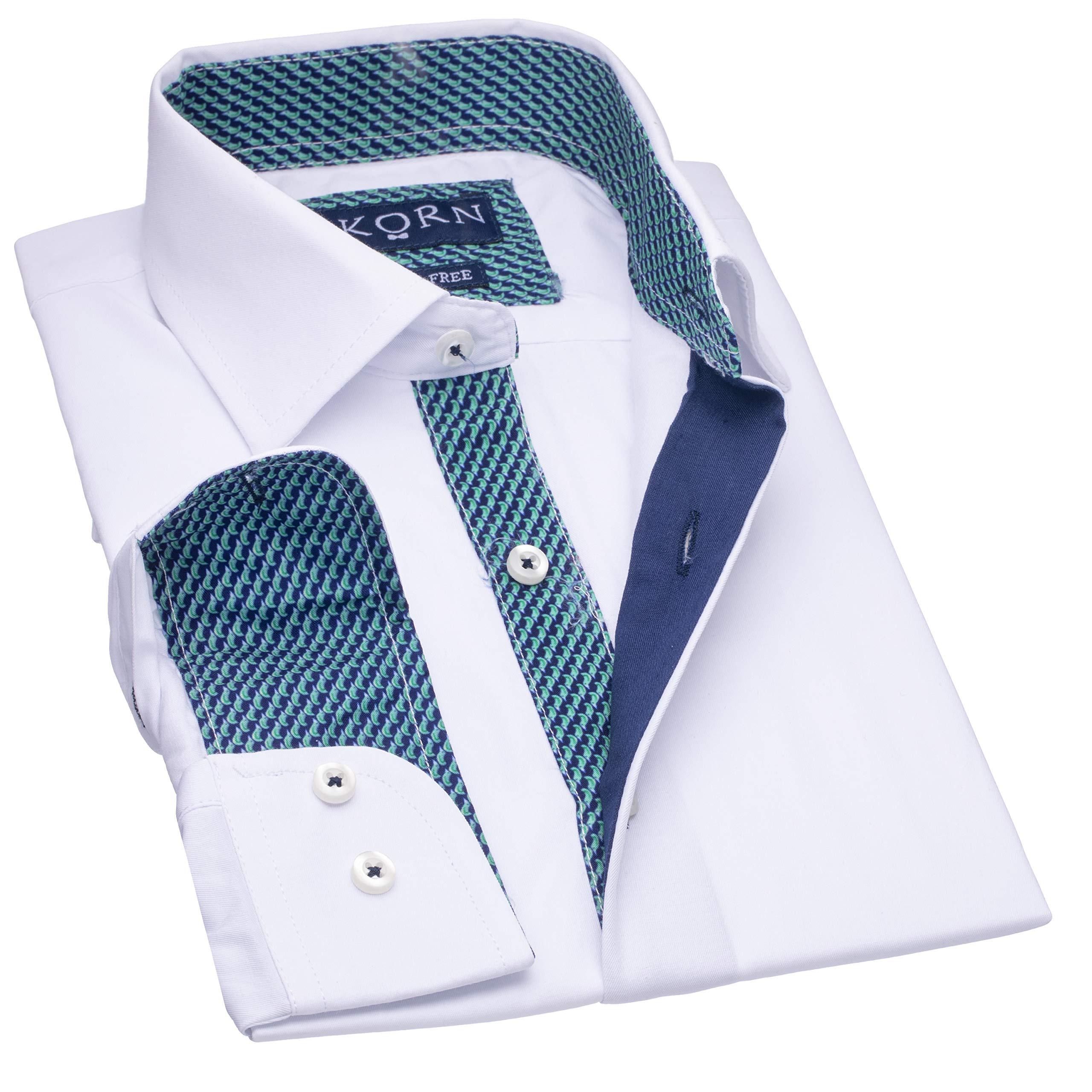 J.Korn Boys Inner Contrast Long Sleeve Cotton Blend Dress Shirt (12, Cbw5)