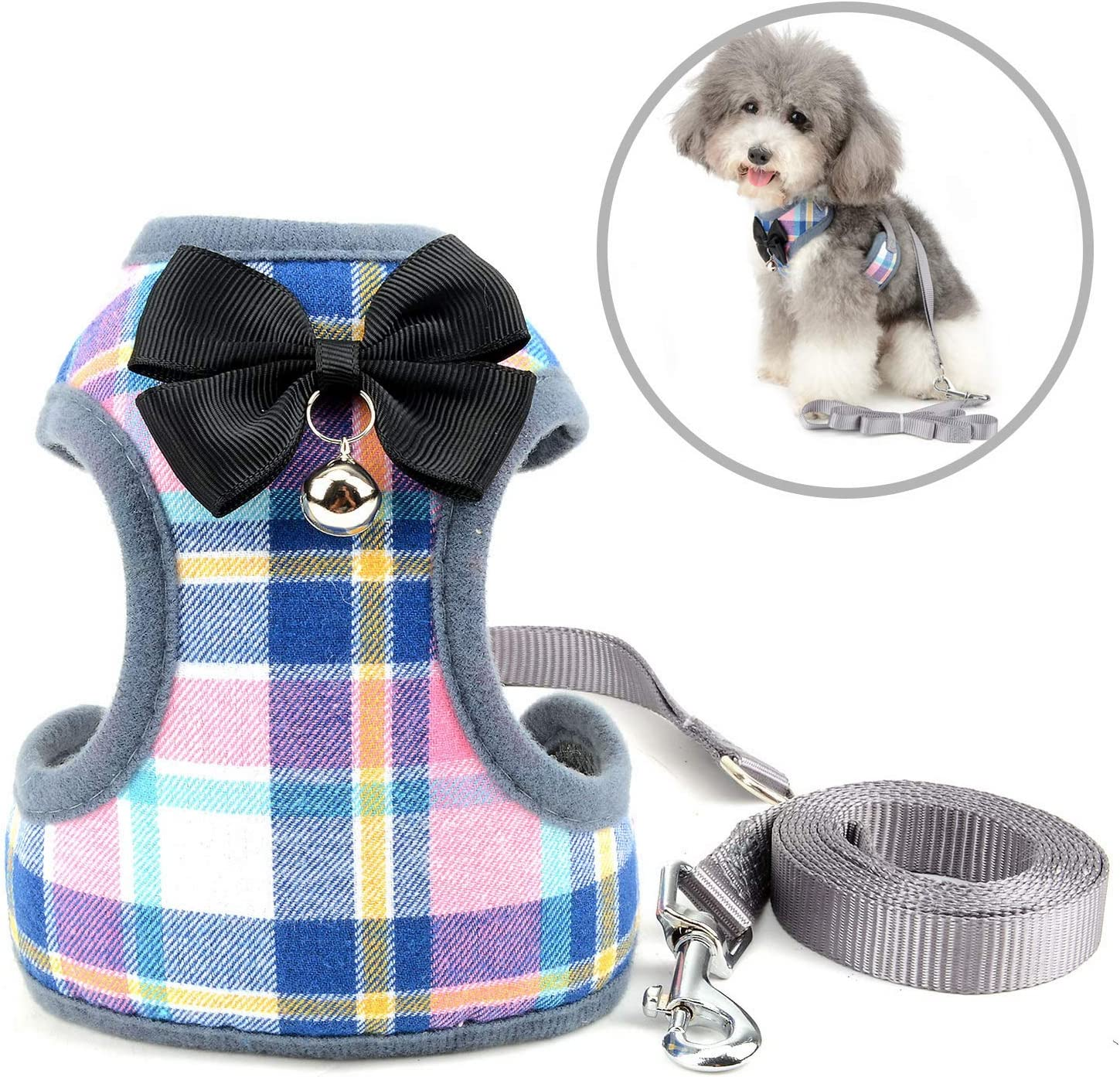 SELMAI Escape Proof Cat Harness with Leash for Small Dogs Plaid Pattern Soft Mesh Vest Harness for Walking Training Leads No Pull for Puppy Chihuahua Dachshund Hiking Jogging Outdoor