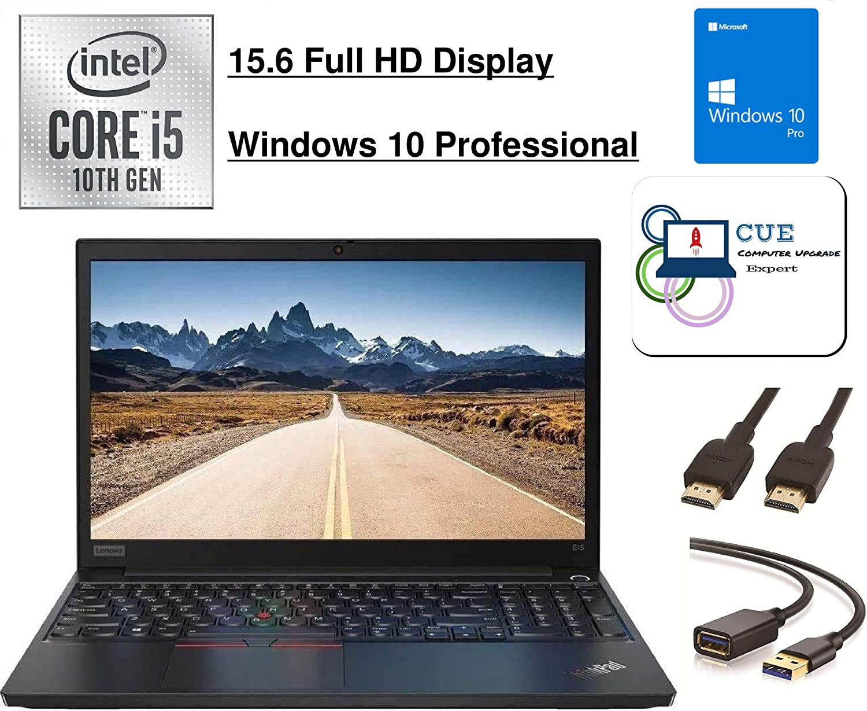 "2020 Lenovo ThinkPad E15 15.6"" FHD Full HD (1920x1080) Business Laptop (Intel 10th Quad Core i5-10210U, Type-C, HDMI, Windows 10 Pro +CUE Accessories (i5-10210U|16GB RAM|512GB SSD)"