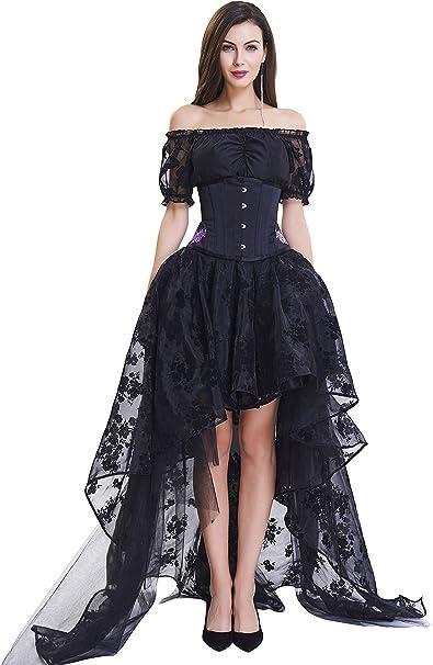 Liyukee Mujeres Steampunk Corset Falda Negro Floral Falda Skater ...