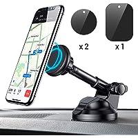 Soporte Móvil Coche Magnético, Universal Soporte Smartphone Coche Car Mount con Brazo telescópico para iPhone y Android Smartphone GPS Navegador (Negro)