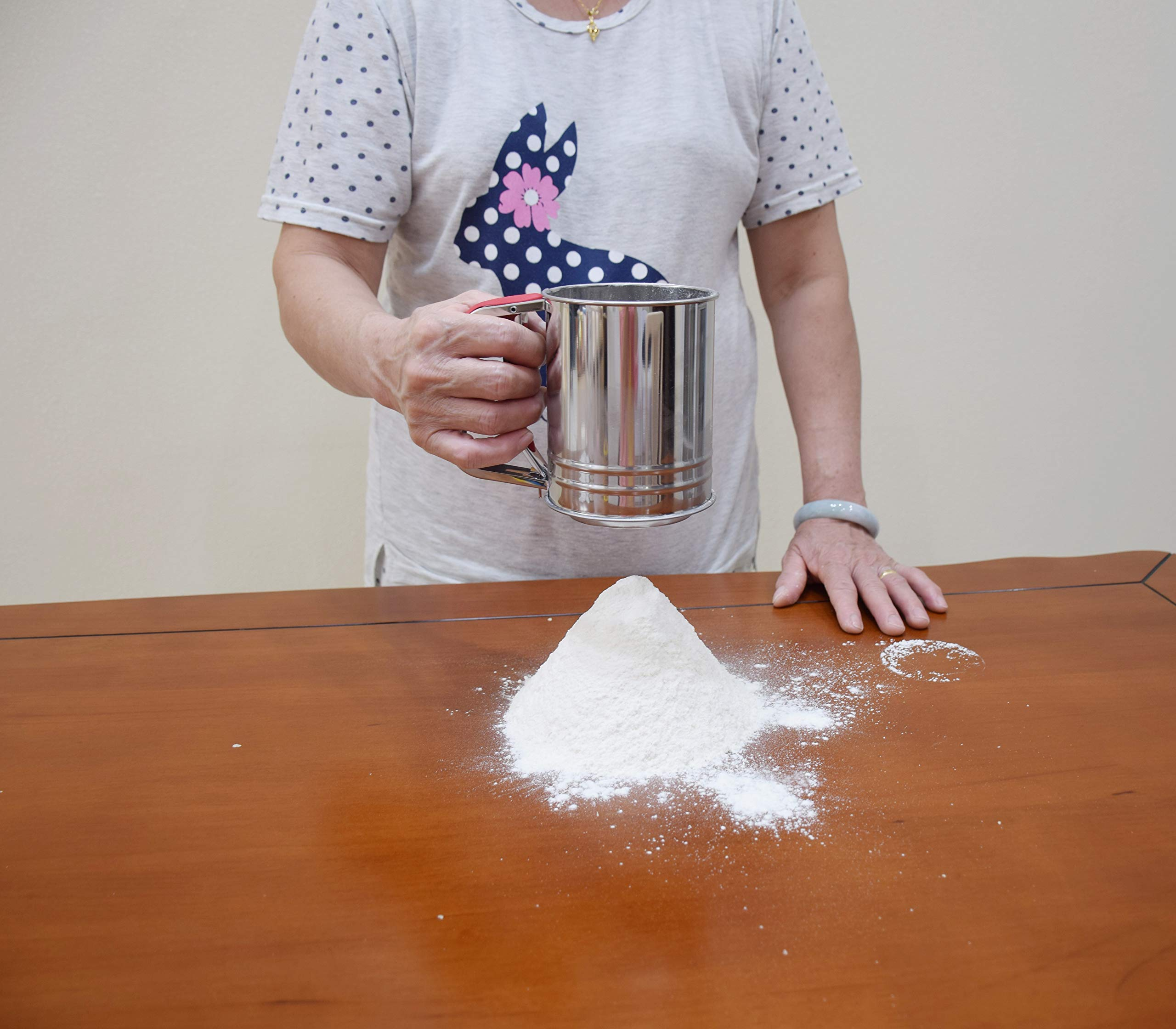 Kitchen aid Flour Sifter One Hand with 3 sifter meshes 3 Cup for Baking by YongLy (Image #4)