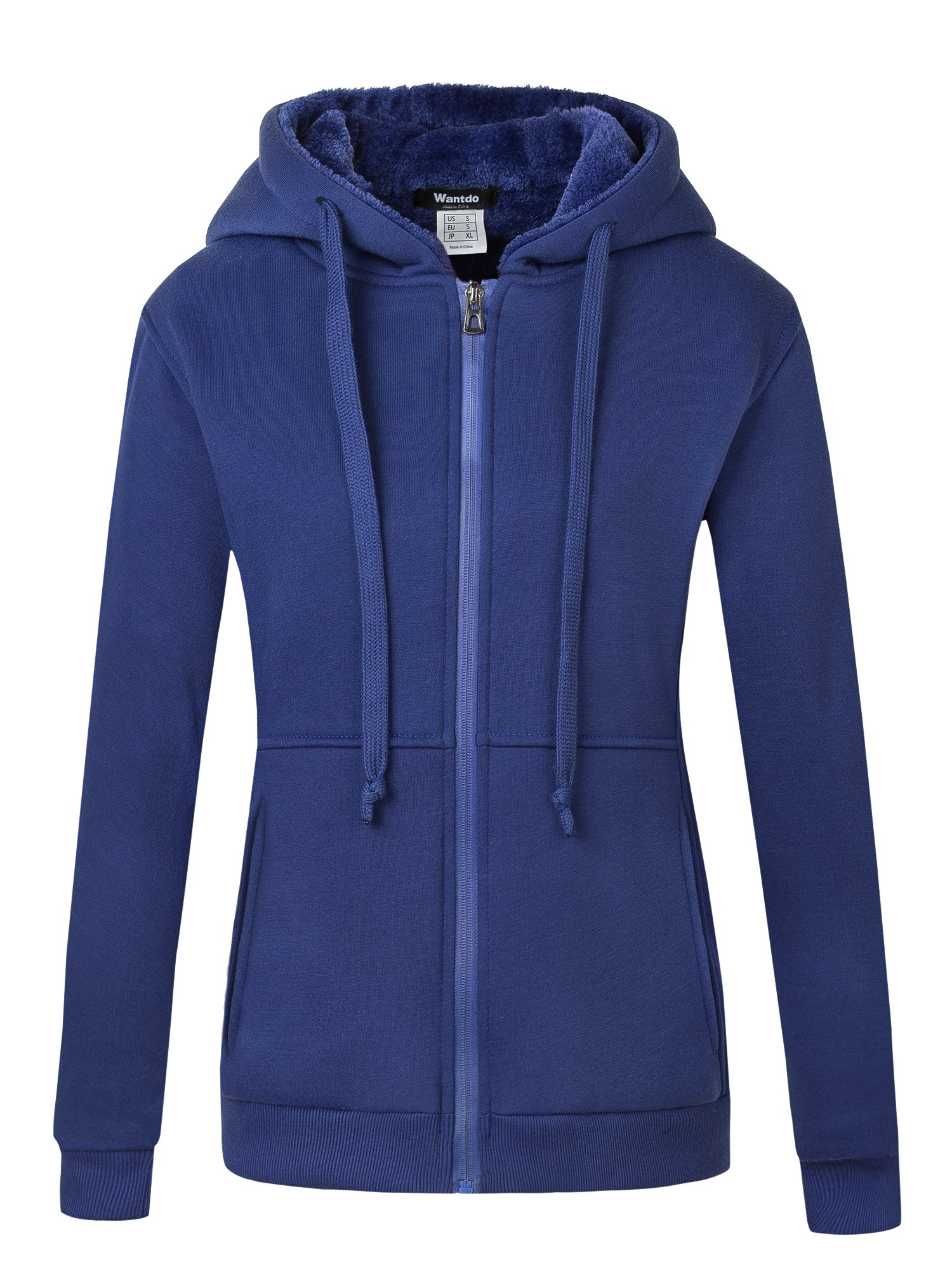Wantdo Women's Warm Hoodie Sweatshirt Slim Fit Sherpa Lined Thick Zip Hooded Fleece Jacket Navy Large Navy Large