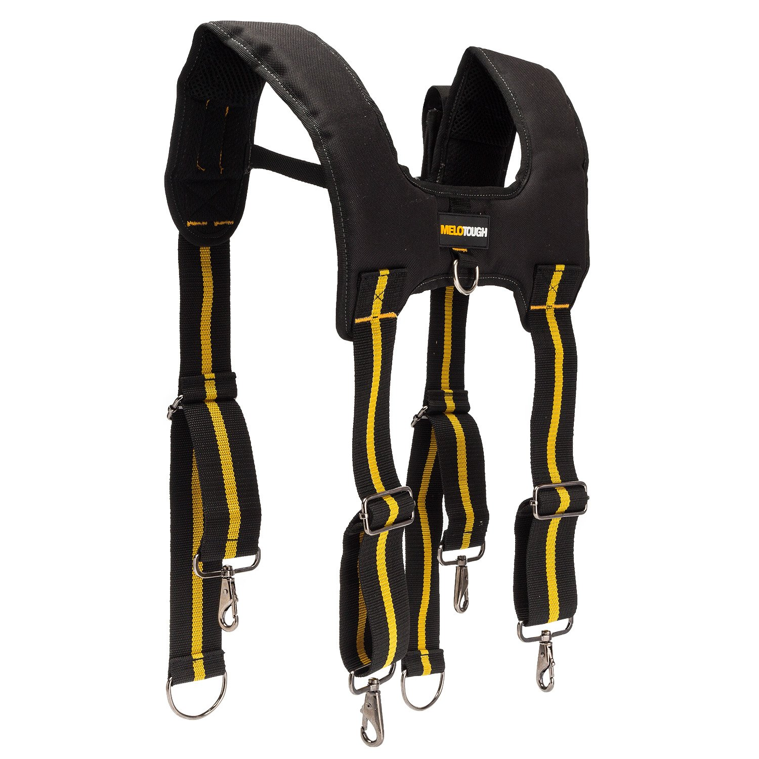 Tool Belt Suspenders|Padded Suspenders with movable phone holder Tape Holder Pencil holder,Flexible Adjustable Straps, suspenders Loop Attachments for carpenter electrician work Suspension Rig by Melo Tough (Image #4)