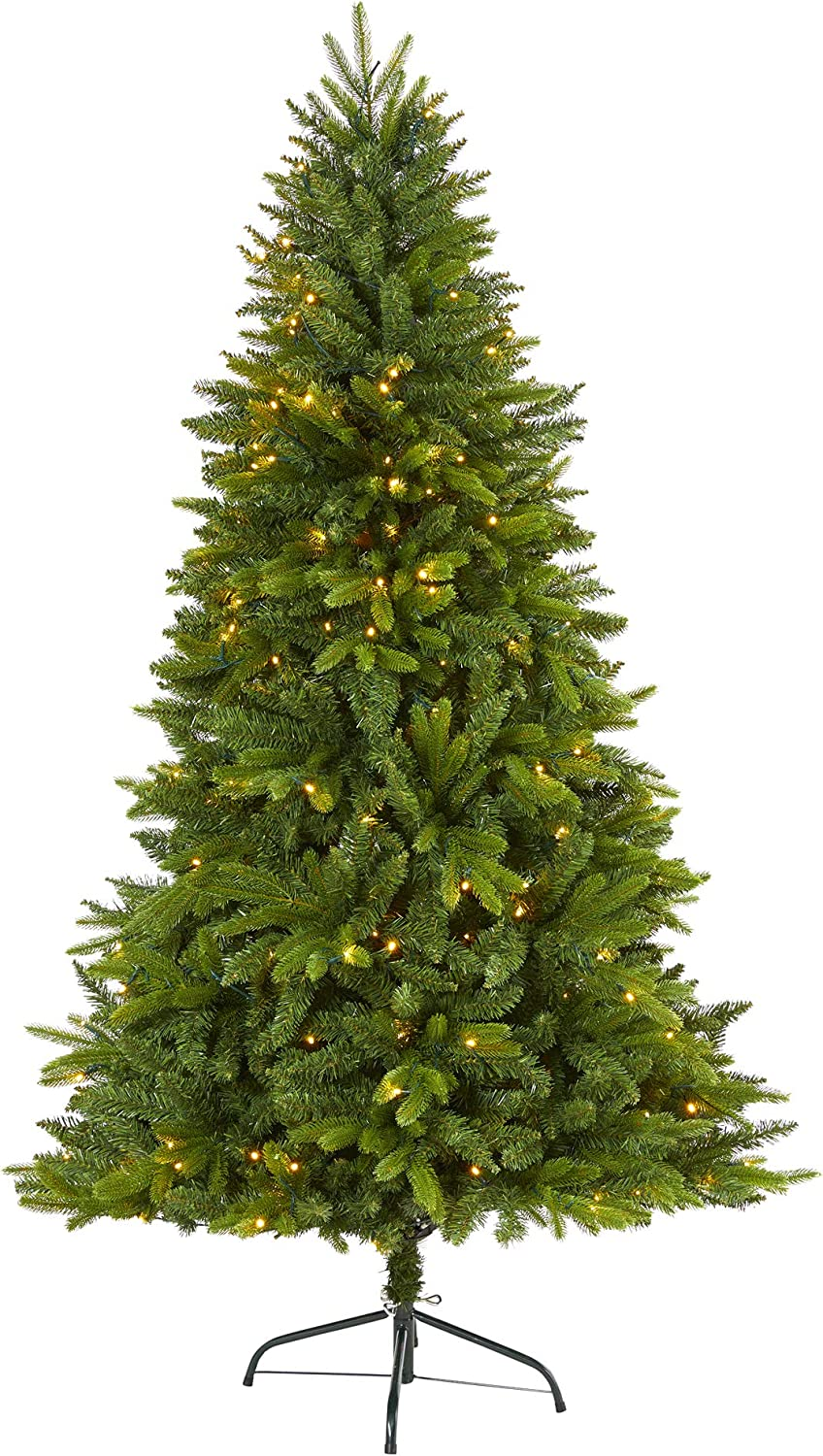 Nearly Natural 6ft. Sun Valley Fir Artificial Christmas Tree with 300 Clear LED Lights, Green