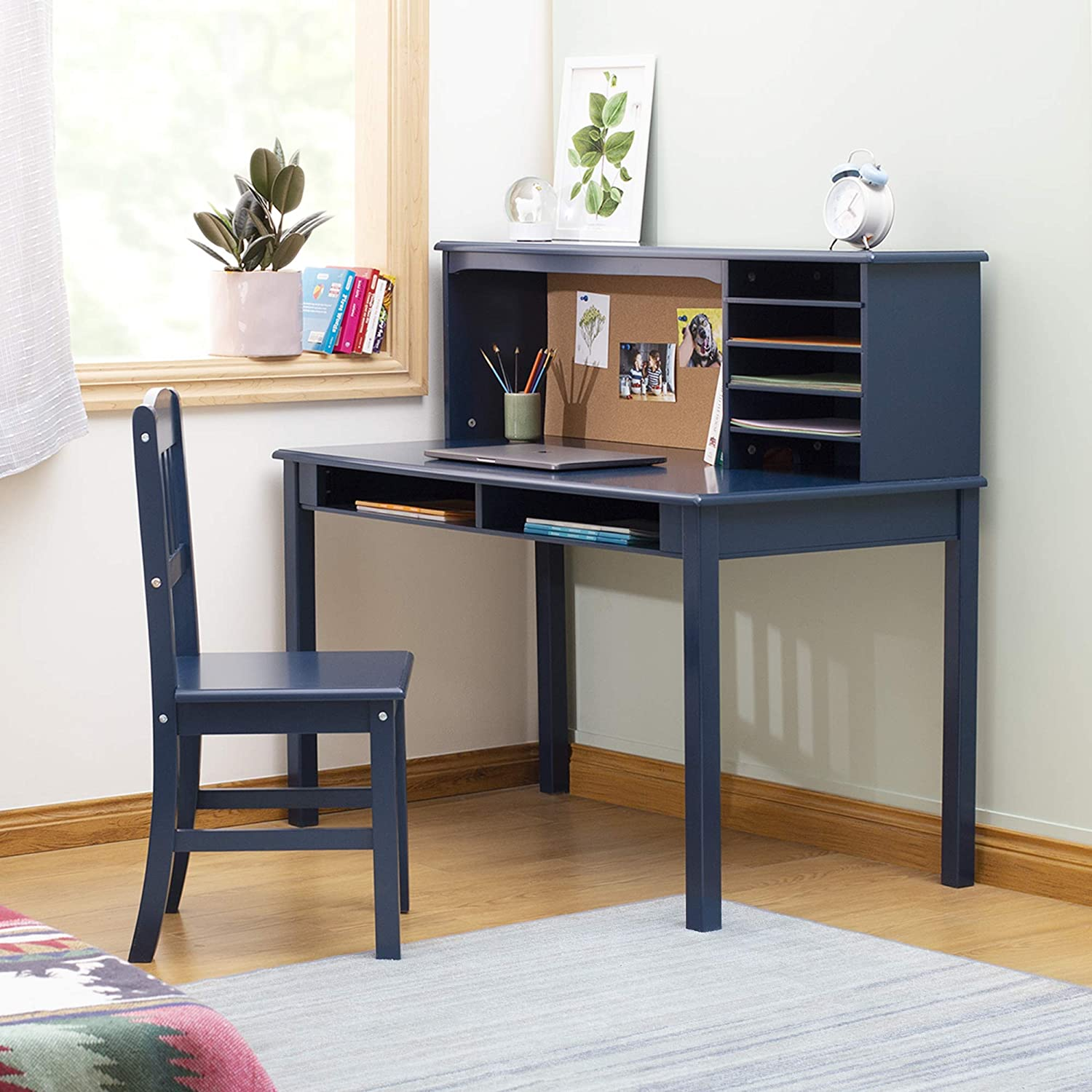Amazon Com Guidecraft Children S Media Desk And Chair Set Navy Student S Study Computer And Writing Workstation With Hutch And Shelves Wooden Kids Bedroom Furniture Furniture Decor