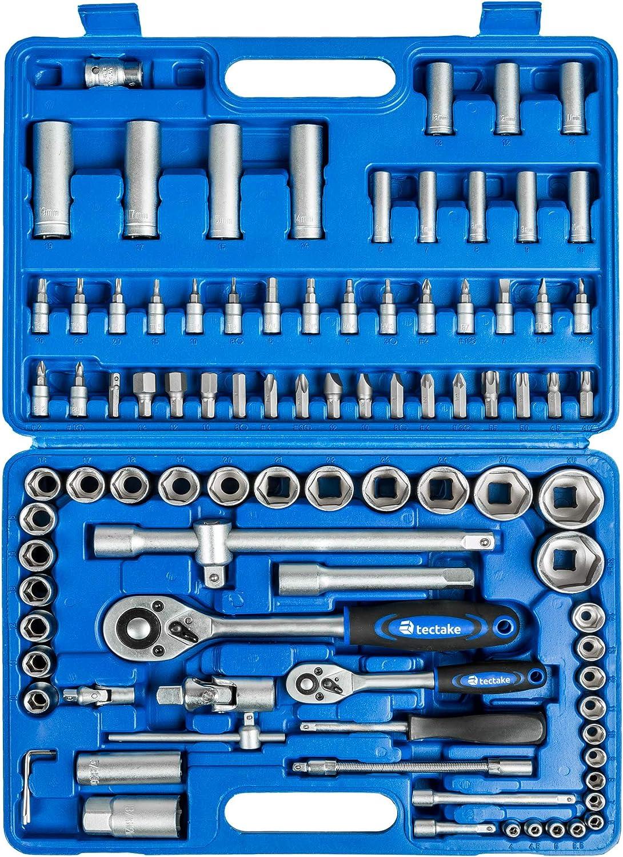TecTake Caja de trinquete de 94 piezas kit tuercas herramientas bits y llaves de vaso 1//2 y 1//4 pulgada