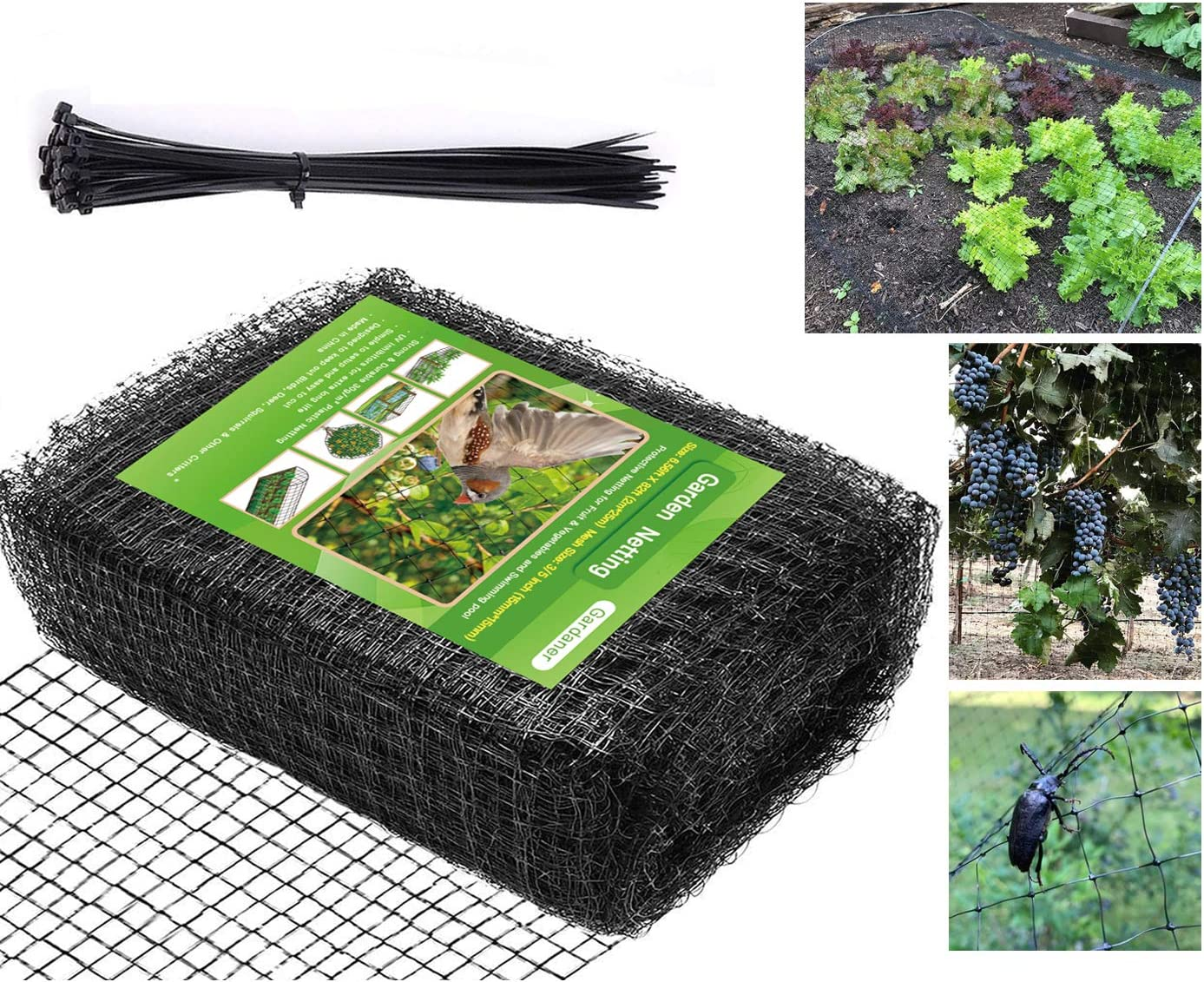Heavy Duty Garden Bird Netting- Doesn't Tangle and Reusable, PP Material Anti-Bird Birds, Deer and Other Critters (6.56ft x 82ft),Bonus 50 PCS Cable Ties