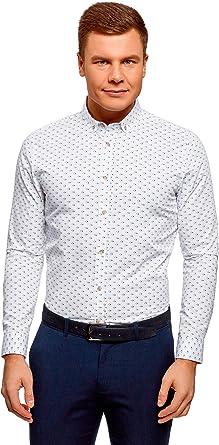 oodji Ultra Hombre Camisa Estampada de Algodón: Amazon.es: Ropa y accesorios