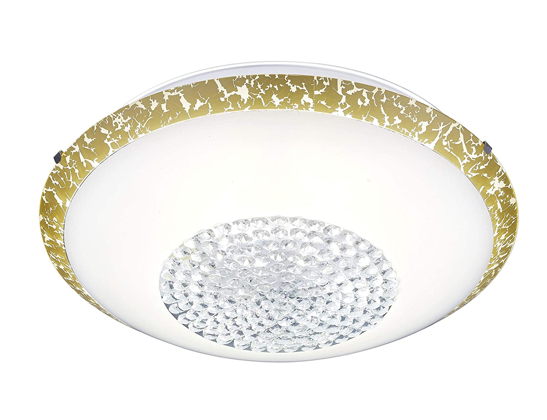 Trio Leuchten Comtess 656211800 LED Deckenleuchte, Glas, 20 Watt, Weiß Gold, Switch Dimmer