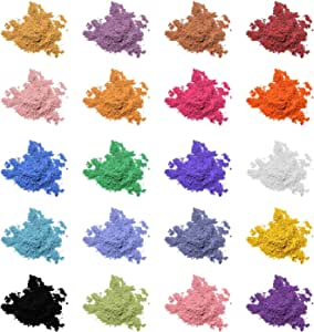 Mica Powder Pigment Pure 20 Color,Non-Toxic Safe Natural Epoxy Resin Pigment Powder for DIY Slime Coloring and Soap Making Supplies,Bath Bomb Colorant,Paint,Makeup Dye,Nail Art,Eye Shadow, Craft