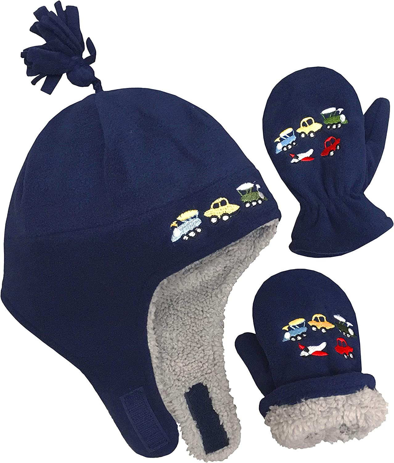 Dinos - Navy//Royal Infant, 3-9 Months NIce Caps Little Boys and Baby Sherpa Lined Fleece Embroidered Hat Mitten Set
