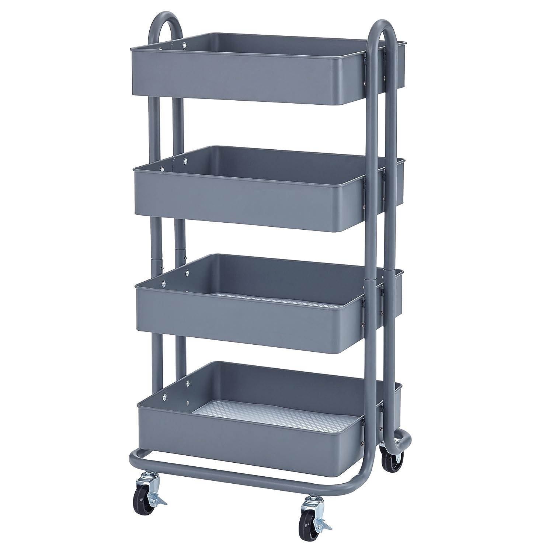 ECR4Kids 4-Tier Metal Rolling Utility Cart - Heavy Duty Mobile Storage Organizer, Grey