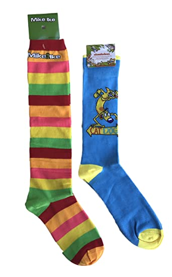 Nickelodeon Cat Dog and Mike and Ike Candy Bundle of Two Pairs of Socks