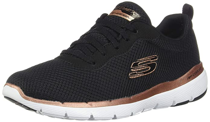 Skechers Flex Appeal 3.0 Sneakers Damen Schwarz/Gold (Black Mesh/Rose Gold)