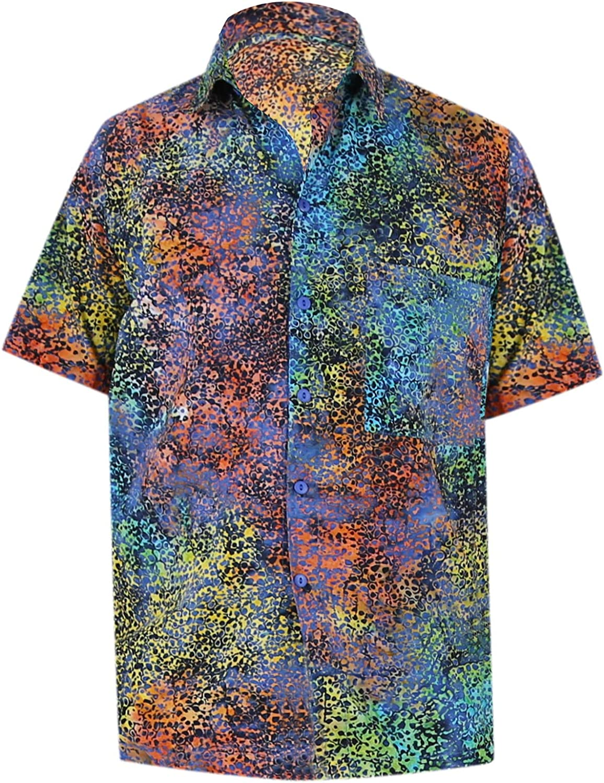 LA LEELA Mens Regular Fit Hawaiian Shirt Button Down Aloha Camp Shirt Printed A