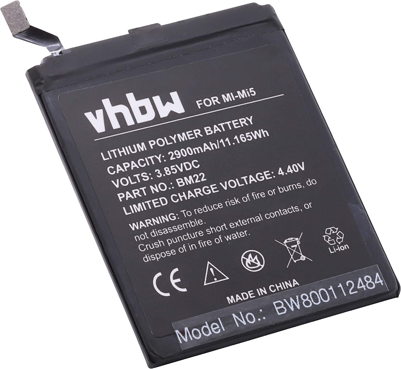 vhbw Li-Polymer batería 2900mAh (3.8V) para teléfono, Smartphone Xiaomi Gemini, Mi5, Mi5 Gold Edition, Mi5 Gold Edition Dual SIM, Mi5 Pro por BM22.