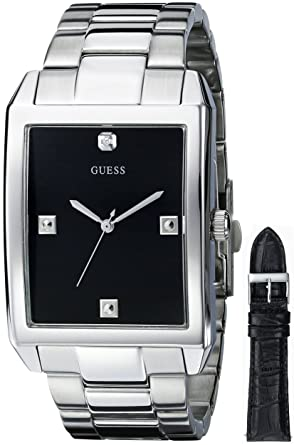 GUESS Mens U0282G1 Silver-Tone Interchangeable Strap Diamond Accented Dress Watch