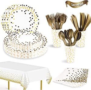 169 Pcs White and Gold Party Supplies Set Disposable Gold Dot Paper Plates Dinnerware Serves 24 Including Plates, Cups, Tablecloth, Napkins, Spoon, Forks for Birthday Wedding Holiday Parties