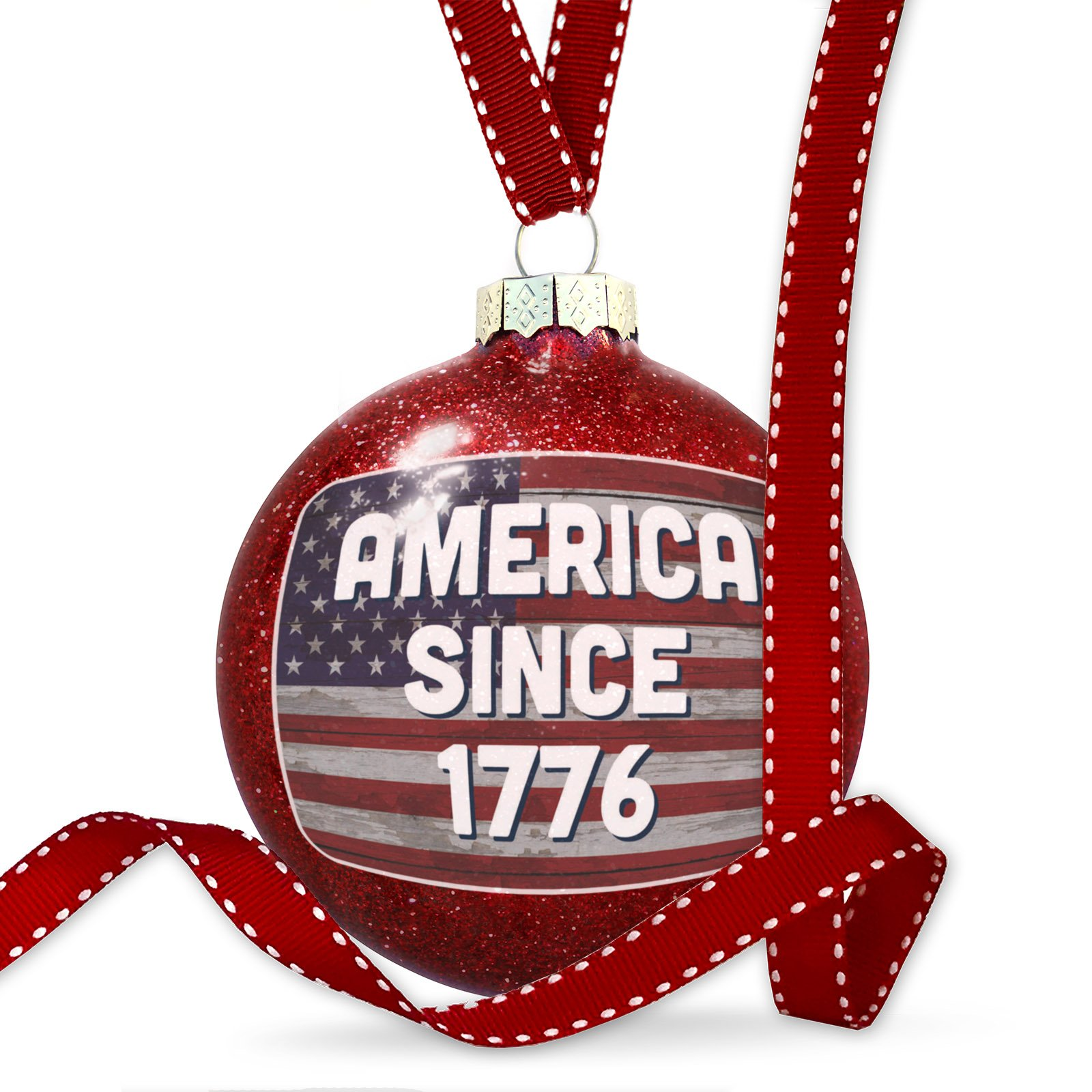 Christmas Decoration America Since 1776 Fourth of July Vintage Wood Flag Ornament