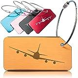 OCTiLUX Luggage Tags for Travel Suitcase Aluminium Aero Design 5 Pack Multicolor