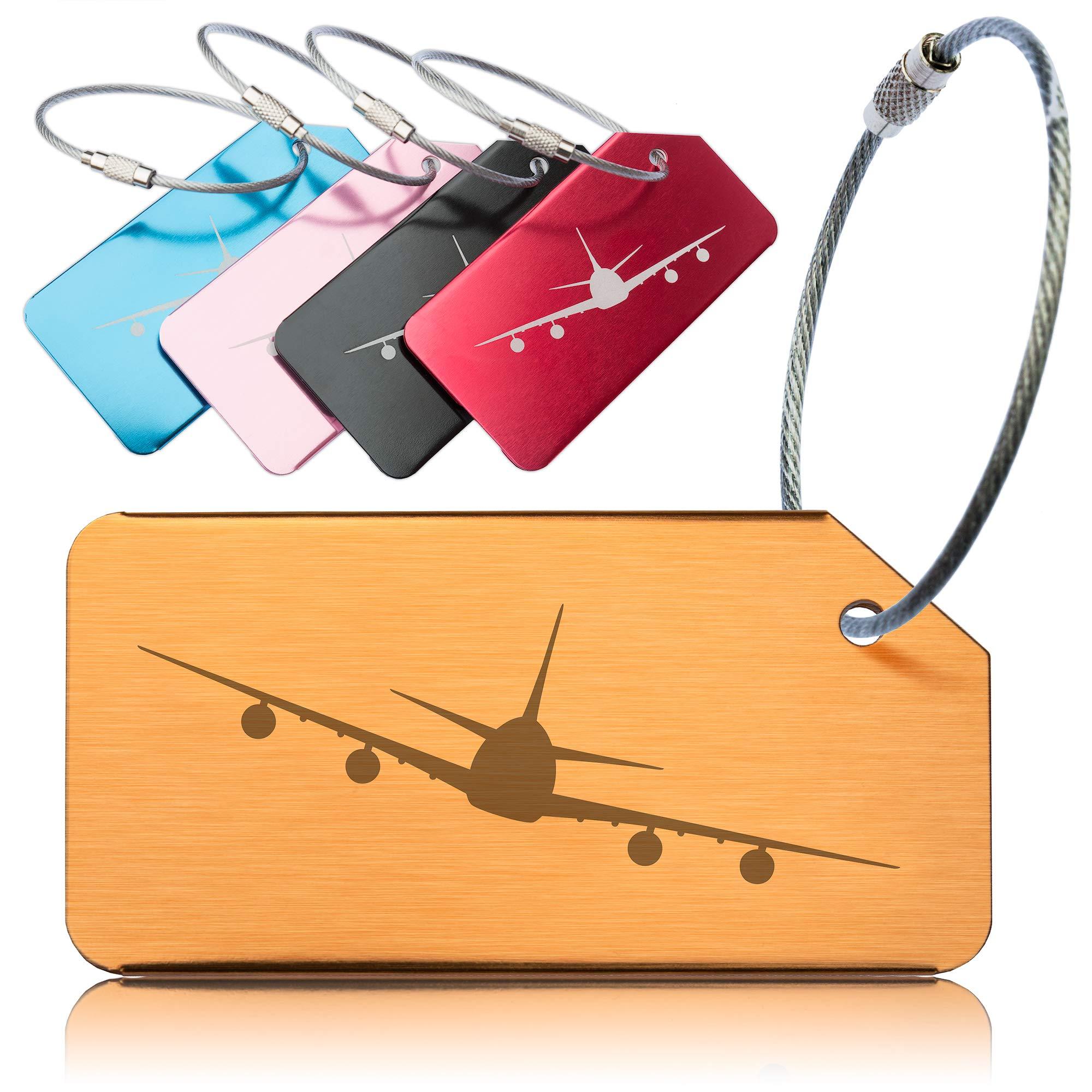 91418e8d7751 OCTiLUX Luggage Tags for Travel Suitcase Aluminium Aero Design 5 Pack  Multicolor