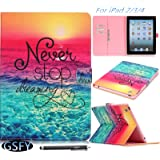 iPad Case, iPad 2 3 4 Case, Newshine [Perfect Fit] PU Leather Magnetic Flip Wallet SmartShell [Kickstand] Case Cover with [Auto Sleep/Wake Feature] for Apple iPad 4/iPad 3/iPad 2 (2 Sunset&Blue Sea)