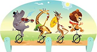 product image for Next Innovations Kids Coat Rack Wall Mounted Animals Unicycle Three Hook Coat Rack