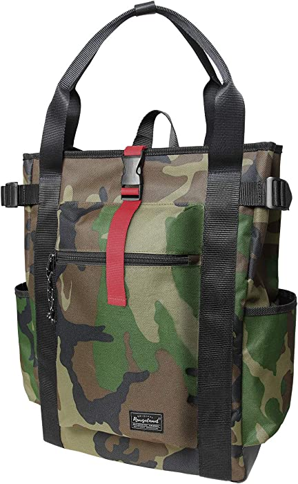 Rangeland Unisex Laptop Tote Backpack (Green Camo) Sturdy Polyester Shoulder Bag with Multiple Pockets for Work Travel Gym College School, 18L