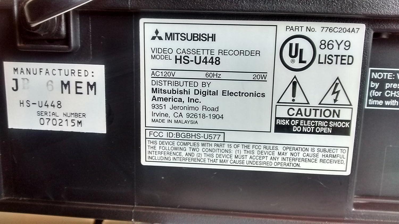 Works Great. PRECISION TurboDrive Auto Clock MITSUBISHI HS-U448 VCR Video Cassette Recorder 4-Head Hi-Fi Stereo VHS HQ Player