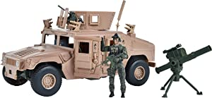 Sunny Days Entertainment M1114 Up-Armored Humvee – Vehicle Playset with Action Figure and Realistic Accessories   9 Piece Military Toy Set for Kids – Elite Force